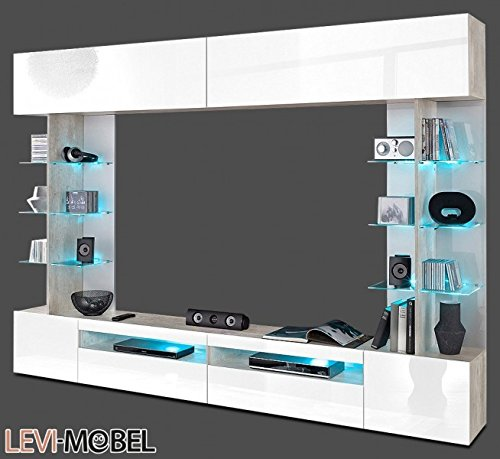 mediawand tv lowboard wohnzimmer wohnwand beton optik wei. Black Bedroom Furniture Sets. Home Design Ideas