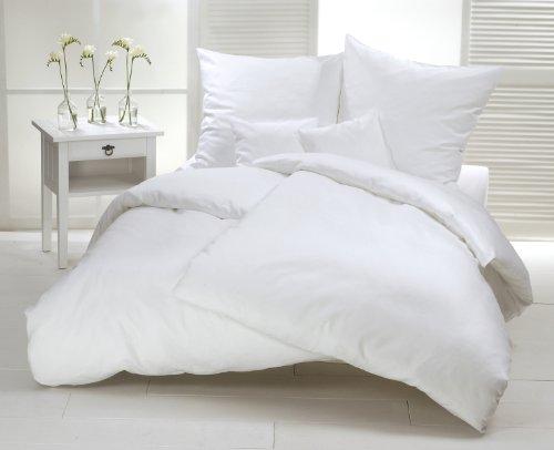 Mako-Satin Bettwäsche Set 155 x 220 cm uni weiß - Bettdecke und Kopfkissen Bezug aus atmungsaktiver Satin-Baumwolle - mehrteiliger Bettbezug ganzjährig verwendbar