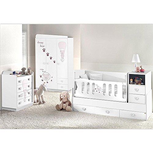 Mitwachsendes Komplett Babyzimmer Weiss Cute Bear mit 3 türigem Kl. von 0 bis 12 Jahren