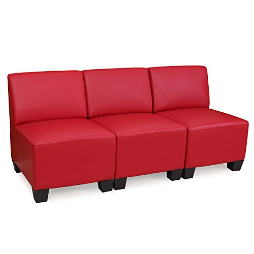 modular 3 sitzer sofa couch lyon kunstleder rot ohne armlehnen 0 m bel24 shop xxxl. Black Bedroom Furniture Sets. Home Design Ideas