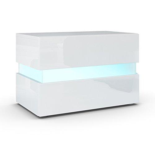 Nachttisch Nachtkonsole Flow, Korpus in Weiß Hochglanz / Front in Weiß Hochglanz inkl. LED Beleuchtung