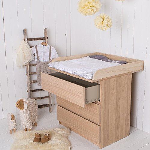 Puckdaddy Naturholz Wickelaufsatz Wickeltischaufsatz für IKEA Malm, Mandal, Brusali Kommode