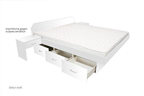bellvita Wasserbett mit Schubladensockel in Komforthöhe, Bettumrandung mit Aufbau, weiß, 160 cm x 200 cm