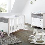 Pinolino 090021B 2-Teilig, Kinderbett, und Breite Wickelkommode mit Wickelaufsatz, aus MDF, 140 X 70 cm, uni weiß/eiche grau/esche grau