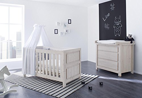 pinolino 090063b 2 teilig kinderbett und breite wickelkommode mit wickelaufsatz aus mdf 140 x. Black Bedroom Furniture Sets. Home Design Ideas