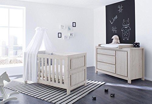Pinolino 090063X 2-Teilig, Kinderbett und Extrabreite Wickelkommode mit Wickelaufsatz, aus MDF, 140 X 70 cm, eiche grau
