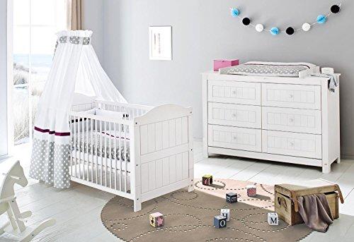 Pinolino 091617X 2-Teilig, Kinderbett und Extrabreite Wickelkommode mit Wickelaufsatz, Fichte Massiv, 140 X 70 cm, weiß lasiert
