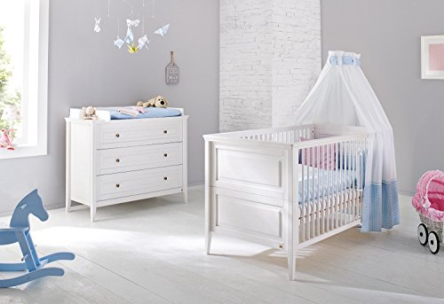 pinolino 091673b 2 teilig kinderbett und breite wickelkommode mit wickelaufsatz kiefer massiv. Black Bedroom Furniture Sets. Home Design Ideas