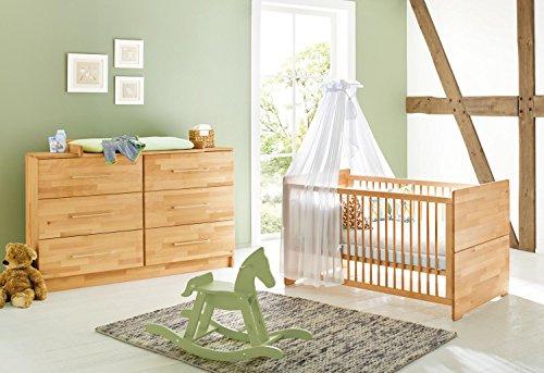 Pinolino 092174X 2-Teilig, Kinderbett und Extrabreite Wickelkommode mit Wickelaufsatz, Buche Massiv, Geölt, 140 X 70 cm