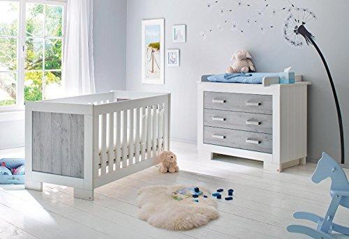 Pinolino 093428B 2-Teilig, Kinderbett, Breite Wickelkommode mit Wickelaufsatz in Pinselstrich-Optik und Beschichtet, 140 X 70 cm, esche grau/weiß lackier