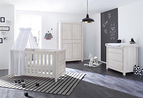 Pinolino 100063B 3-Teilig, Kinderbett, Breite Wickelkommode mit Wickelaufsatz und Kleiderschrank, aus MDF, 140 X 70 cm, eiche grau