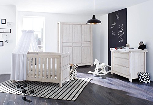 Pinolino 100063Bg 3-Teilig, Kinderbett, Breite Wickelkommode mit Wickelaufsatz und Großer Kleiderschrank, aus MDF, 140 X 70 cm, eiche grau