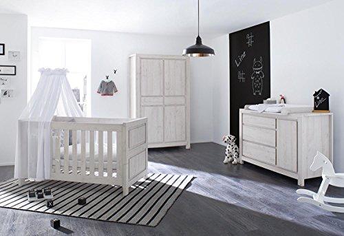 Pinolino 100063X 3-Teilig, Kinderbett, Extrabreite Wickelkommode mit Wickelaufsatz und Kleiderschrank, aus MDF, 140 X 70 cm, eiche grau