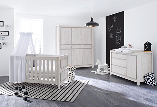Pinolino 100063Xg 3-Teilig, Kinderbett, Extrabreite Wickelkommode mit Wickelaufsatz und Großer Kleiderschrank, aus MDF, 140 X 70 cm, eiche grau