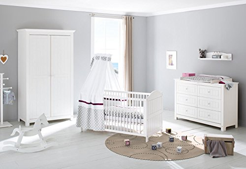 Pinolino 101617X 3-Teilig, Kinderbett, Extrabreite Wickelkommode mit Wickelaufsatz und Kleiderschrank, Fichte Massiv, 140 X 70 cm, weiß lasiert
