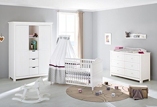 pinolino 101617xg 3 teilig kinderbett extrabreite wickelkommode mit wickelaufsatz und gro er. Black Bedroom Furniture Sets. Home Design Ideas