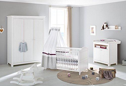 pinolino 101617y 3 teilig kinderbett wickelkommode wickelansatz und gro er kleiderschrank mit. Black Bedroom Furniture Sets. Home Design Ideas