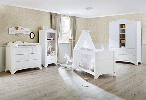 Pinolino 101642Bg 3-Teilig, Kinderbett, Breite Wickelkommode mit Wickelaufsatz und Großer Kleiderschrank, Kiefer Massiv, 140 X 70 cm, weiß lasiert