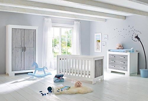 Pinolino 103428B 3-Teilig, Kinderbett, Breite Wickelkommode mit Wickelaufsatz, Kleiderschrank, Lackiert in Pinselstrich-Optik und Beschichtet, 140 X 70 cm, weiß