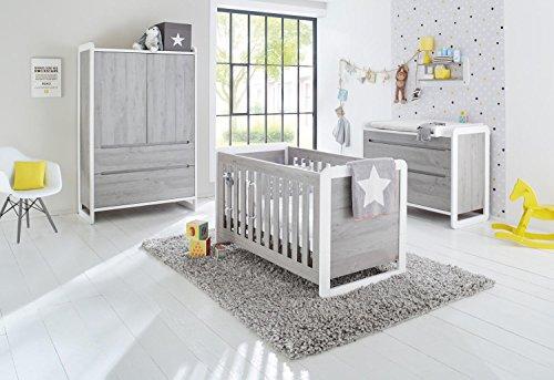 Pinolino 103440B 3-Teilig, Kinderbett, Breite Wickelkommode mit Wickelaufsatz, Kleiderschrank, Edelmatt und Beschichtet, 140 X 70 cm, weiß