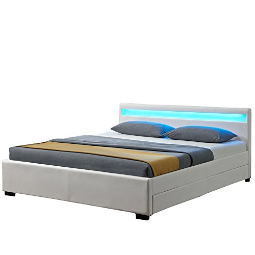 """Polsterbett """"Lyon"""" inklusive Bettkasten - 180 x 200 cm - weiß"""