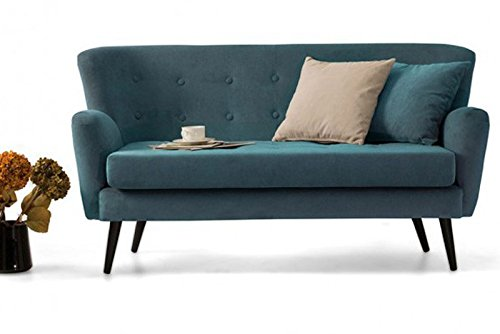 retro vintage 2er 2 sitzer couch sofa garnitur bambi 155 x 83 x 83 cm in t rkis petrol m bel24. Black Bedroom Furniture Sets. Home Design Ideas