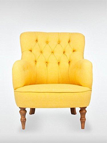 Retro Vintage Sessel Ohrensessel LELAND 78 x 100 x 90 cm Loungesessel gelb