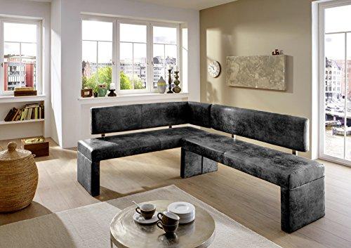 SAM Eckbank Lia in grau, Linke Seite 180 cm, Rechte Seite 130 cm, Sitzbank mit Rückenlehne aus Samolux®-Bezug, angenehmer Sitzkomfort