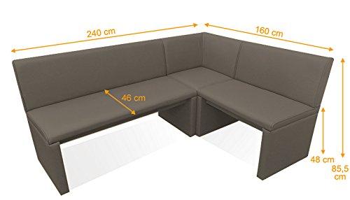 SAM® Eckbank Family Mitchel muddy Variante 160 x 240 (zweite Seite wahlweise 120 / 140 / 160 / 180 / 200 / 220 / 260 cm) links und rechts aufbaubar flexibel montierbar