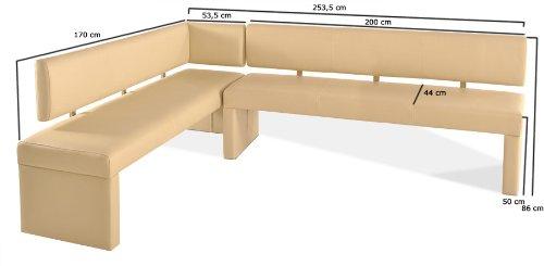 SAM® Eckbank Sandra creme Ihre Variante 170 x 253,5 cm andere Varianten wahlweise (133,5 / 153,5 / 178,5 / 193,5 / 217,5 / 233,5) links und rechts aufbaubar flexibel montierbar