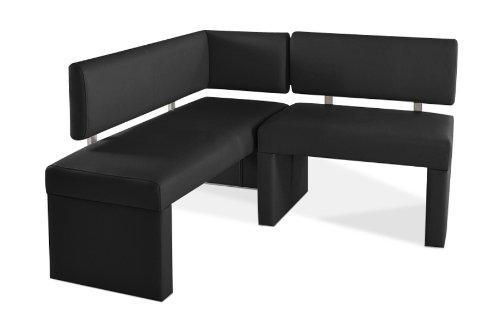 SAM® Eckbank Silvana schwarz Ihre Variante 130 x 217,5 cm andere Varianten wahlweise (133,5 / 153,5 / 178,5 / 193,5 / 233,5 / 253,5)