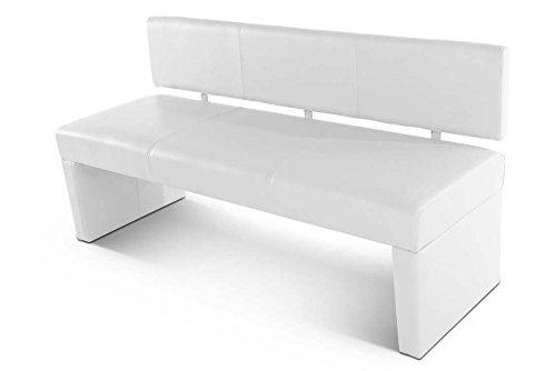 SAM® Esszimmer Sitzbank Selena, 164 cm, in weiss, Sitzbank mit Rückenlehne aus Samolux®-Bezug, angenehmer Sitzkomfort, frei im Raum aufstellbare Bank