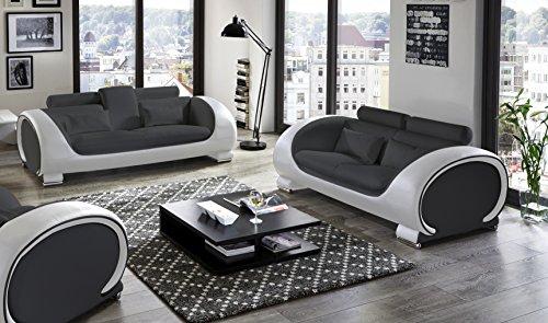 SAM Garnitur Vigo 2 teilig , schwarz / weiß, Couch aus Kunstleder
