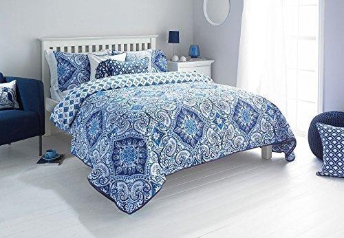 scroll damast blau 240 x 260 cm 180 fadenzahl baumwolle mischgewebe wende tagesdecke m bel24. Black Bedroom Furniture Sets. Home Design Ideas