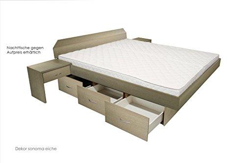 SONDERAKTION bellvita Mesamoll II Wasserbett mit Schubladensockel in Komforthöhe, Bettumrandung mit fachgerechtem Aufbau, 180 cm x 220 cm (eiche)