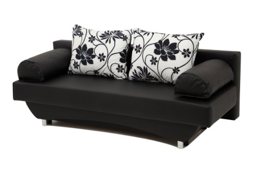 schlafsofa queens 186 x 80 cm kunstleder schwarz 0 m bel24 shop xxxl. Black Bedroom Furniture Sets. Home Design Ideas
