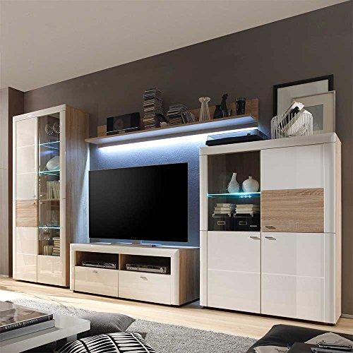 schrankwand in wei hochglanz sonoma eiche 4 teilig mit beleuchtung pharao24 0 m bel24. Black Bedroom Furniture Sets. Home Design Ideas