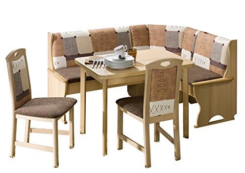Schösswender Eckbankgruppe Köln in Buche Dekor besteht aus Vierfußtisch mit Auszug und zwei Stühlen, Bezug Braun uni und beige gemustert