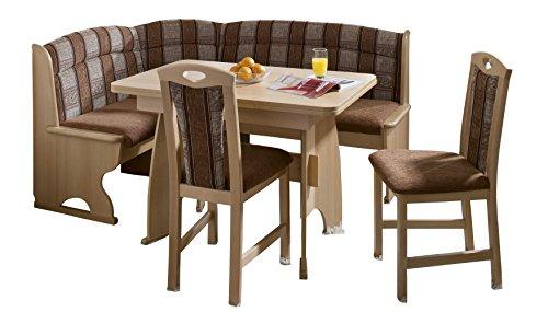 Schösswender Eckbankgruppe Luzern in Buche natur lackiert besteht aus Wangentisch mit Auszug und zwei Stühlen, Bezug Braun uni und beige gemustert