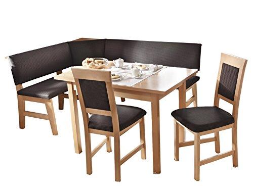 Schösswender Eckbankgruppe Salzburg in Buche natur lackiert besteht aus Vierfußtisch und zwei Stühlen, Bezug Kahve 481, braun