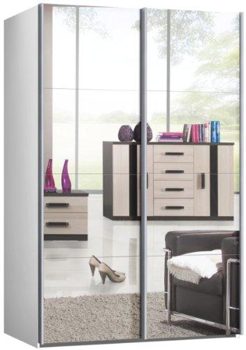 Schwebetürenschrank, Schiebetürenschrank, ca. 150 cm, Weiss mit Spiegel, Kleiderschrank