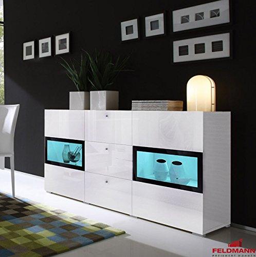 Sideboard 558016 anrichte 132cm wei hochglanz schwarz 0 for Moebel24 shop