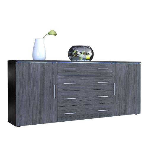 sideboard kommode faro v2 korpus in schwarz matt front in avola anthrazit m bel24. Black Bedroom Furniture Sets. Home Design Ideas
