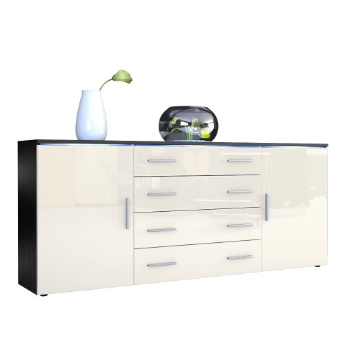 sideboard kommode faro v2 korpus in schwarz matt front. Black Bedroom Furniture Sets. Home Design Ideas