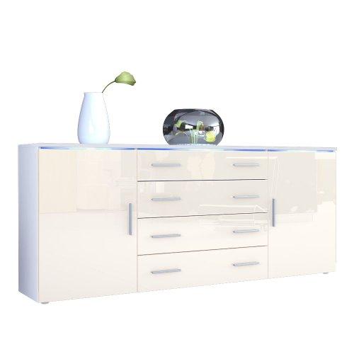 sideboard kommode faro v2 in wei creme hochglanz 0 m bel24 shop xxxl. Black Bedroom Furniture Sets. Home Design Ideas