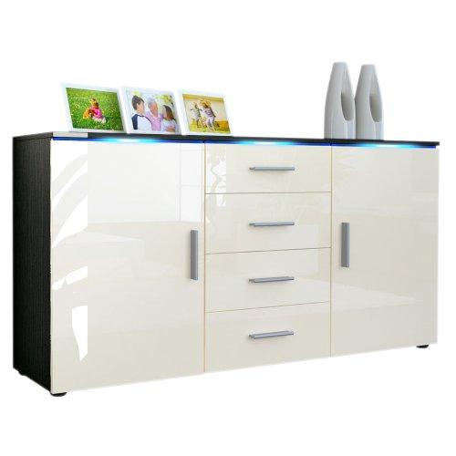 sideboard kommode faro korpus in schwarz matt front in creme hochglanz m bel24 shop xxxl. Black Bedroom Furniture Sets. Home Design Ideas