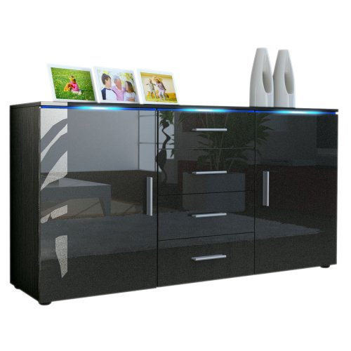 sideboard kommode faro in schwarz schwarz metallic. Black Bedroom Furniture Sets. Home Design Ideas