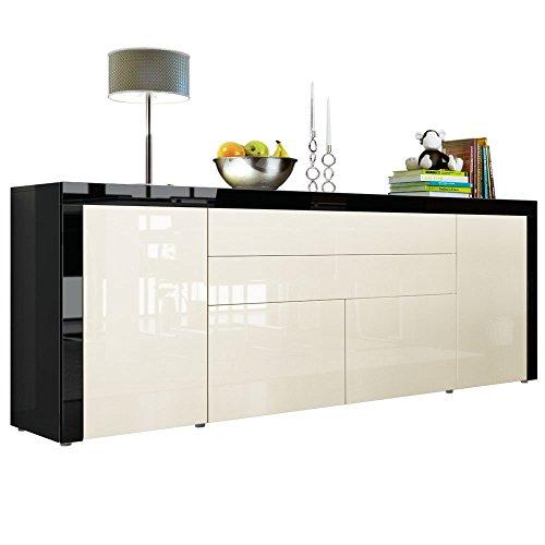 sideboard kommode la paz v2 in schwarz hochglanz creme hochglanz schwarz hochglanz 0 m bel24. Black Bedroom Furniture Sets. Home Design Ideas