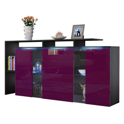 sideboard kommode lissabon in schwarz brombeer hochglanz 0. Black Bedroom Furniture Sets. Home Design Ideas