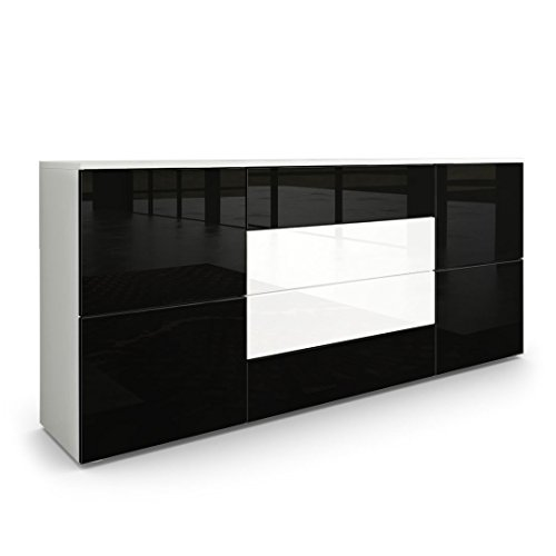 sideboard kommode rova korpus in wei matt fronten in schwarz hochglanz und wei hochglanz. Black Bedroom Furniture Sets. Home Design Ideas